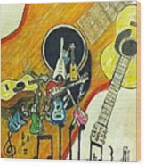 Abstract Guitars Wood Print by Larry Lamb