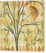 Abstract Harlequin Diamond Pattern Painting Original Landscape Art Moon Tree By Megan Duncanson Wood Print by Megan Duncanson