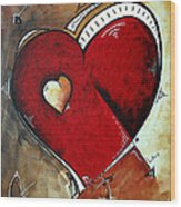 Abstract Heart Original Painting Valentines Day Heart Beat By Madart Wood Print