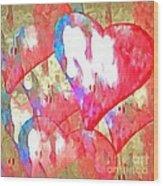 Abstract Hearts 16 Wood Print