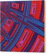 Abstract In Red And Blue Wood Print