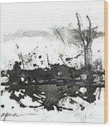 Modern Abstract Black Ink Art Wood Print
