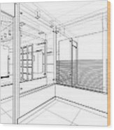 Abstract Interior Construction Wood Print