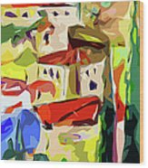 Abstract Italy Lago Di Como Wood Print by Ginette Callaway