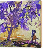Abstract Jacaranda Tree Lovers Wood Print by Ginette Callaway