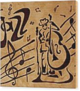 Abstract Jazz Music Coffee Painting Wood Print