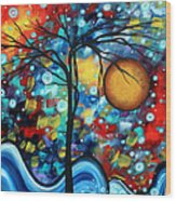 Abstract Landscap Art Original Circle Of Life Painting Sweet Serenity By Madart Wood Print