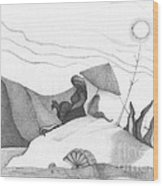 Abstract Landscape Art Black And White Beach Cirque De Mor By Romi Wood Print