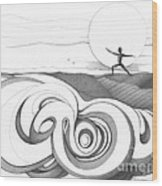 Abstract Landscape Art Black And White Yoga Zen Pose Between The Lines By Romi Wood Print