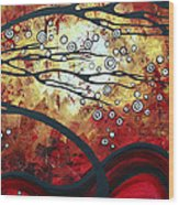 Abstract Landscape Art Original Painting Where Dreams Are Born By Madart Wood Print