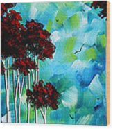 Abstract Landscape Art Original Tree And Moon Painting Blue Moon By Madart Wood Print