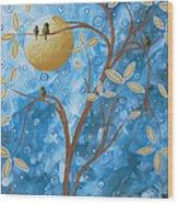 Abstract Landscape Bird Painting Original Art Blue Steel 1 By Megan Duncanson Wood Print