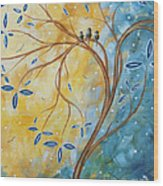 Abstract Landscape Bird Painting Original Art Blue Steel 2 By Megan Duncanson Wood Print