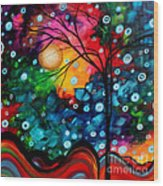 Abstract Landscape Colorful Contemporary Painting By Megan Duncanson Brilliance In The Sky Wood Print by Megan Duncanson