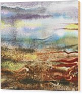Abstract Landscape Morning Mist Wood Print