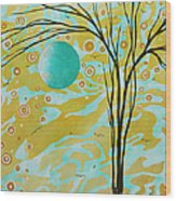 Abstract Landscape Painting Animal Print Pattern Moon And Tree By Madart Wood Print