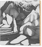 Abstract Landscape Rock Art Black And White By Romi Wood Print