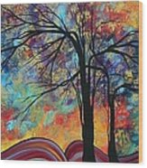 Abstract Landscape Tree Art Colorful Gold Textured Original Painting Colorful Inspiration By Madart Wood Print