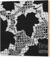 Abstract Leaf Pattern - Black White Grey Wood Print