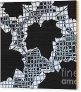 Abstract Leaf Pattern - Black White Light Blue Wood Print