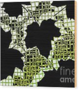 Abstract Leaf Pattern - Black White Lime Green Wood Print
