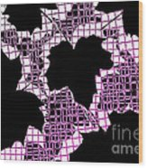 Abstract Leaf Pattern - Black White Pink Wood Print