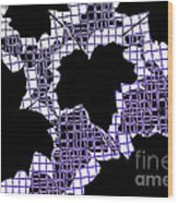 Abstract Leaf Pattern - Black White Purple Wood Print