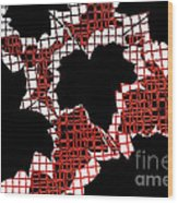 Abstract Leaf Pattern - Black White Red Wood Print