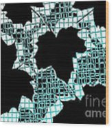 Abstract Leaf Pattern - Black White Turquoise Wood Print