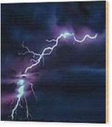 Abstract Positive Striker Lightning 13 Wood Print