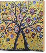 Abstract Modern Flowers Garden Art ... Flowering Tree Wood Print