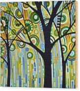 Abstract Modern Tree Landscape Spring Rain By Amy Giacomelli Wood Print