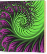Abstract Neon Colors Fractal Wood Print
