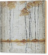 Abstract Neutral Landscape Pond Reflection Painting Mystified Dreams I By Megan Ducanson Wood Print