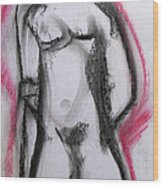 Abstract Nude With Red Wood Print