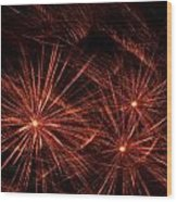 Abstract Of Fireworks On Black Wood Print