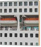 Abstract Of Lifeboats On A Large Cruise Ship Wood Print