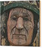 Abstract Of Wooden Indian Head Wood Print
