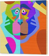 Abstract Original Monkey Drawing In Wood Print
