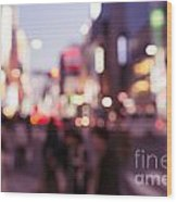 Abstract Out-of-focus City Scenery With Colorful Lights Wood Print
