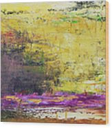 Abstract Painted Yellow Art Backgrounds Wood Print