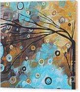 Abstract Painting Chocolate Brown Whimsical Landscape Art Baby Blues By Madart Wood Print