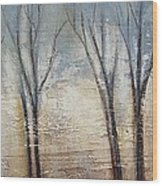 Abstract Painting Morning Fog Wood Print