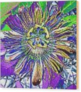 Abstract Passion Flower Wood Print
