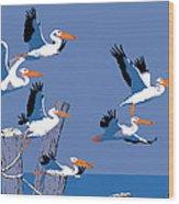 abstract Pelicans seascape tropical pop art nouveau 1980s florida birds large retro painting  Wood Print