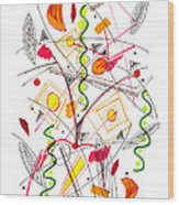 Abstract Pen Drawing Fifty-five Wood Print