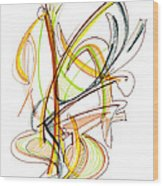Abstract Pen Drawing Fifty-nine Wood Print