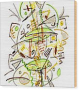 Abstract Pen Drawing Fifty-seven Wood Print