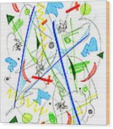 Abstract Pen Drawing Fifty-three Wood Print