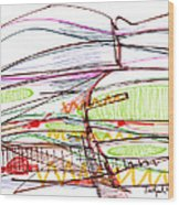 Abstract Pen Drawing Forty-five Wood Print